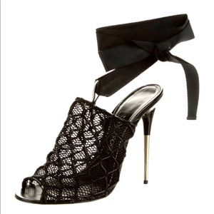 Tom Ford Ribbon Wrap Around Ankle Strap mesh mules